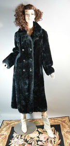 60s Black Faux Fur Coat// Double Breasted Faux Fur Coat// Long Black Winter Coat (F1)