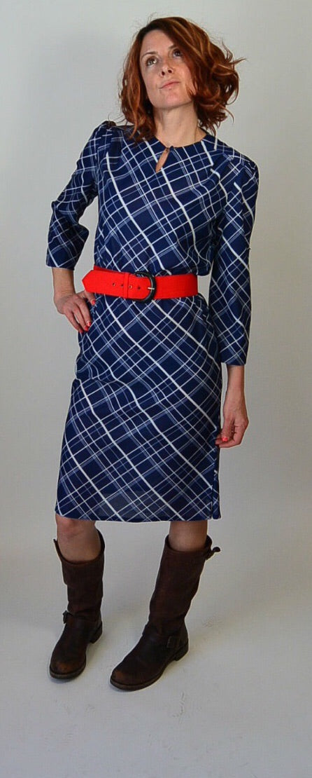 70s Secretary Dress// Vintage Librarian Dress// Blue Dress Bright Red Belt (F1)