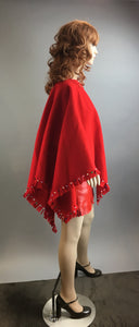 Vintage Native American Girl Costume// Vinyl Skirt and Felt Poncho// 80s Red Pocahontas Costume (F1)