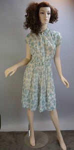 50s Day Dress// See Thru House Dress// Vintage 50s Dress medium(F1)