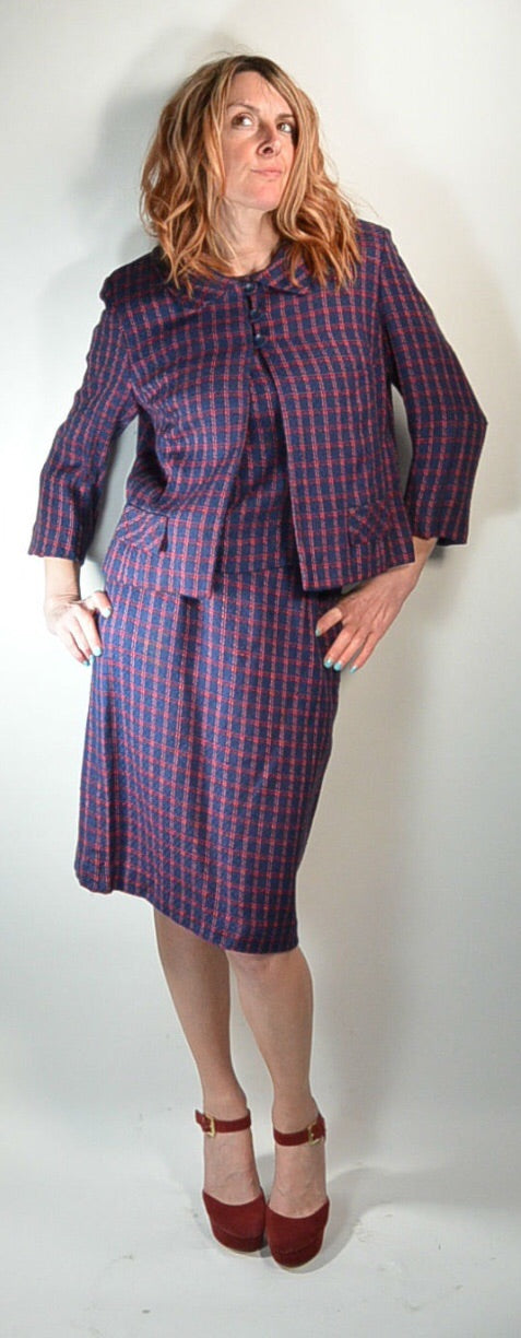 3 Piece Women's Suit// Matching 60s Outfit// Mad Men Business Suit (F1)