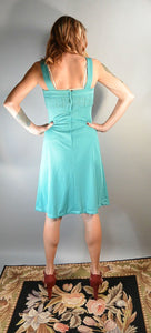 70s Empire Waist Dress// Turquoise Brady Bunch Dress// Vintage Spring Dress (F1)