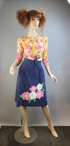 Vintage Wrap Skirt// 70s Handmade Hippie Skirt// Skirt with Flower Appliqué (F1)