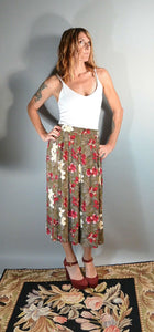 80s Rayon Skirt// Secretary Skirt// Long Olive Green Skirt with Pockets (F1)