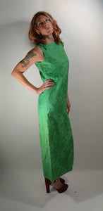 60s Maxi Dress// Oriental Long Dress// Grass Green Cotton Dress (F1)