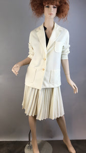 Vintage 80s Skirt Suit// Pleated White Skirt and Blazer// Totally 80s White Nautical Suit (F1)