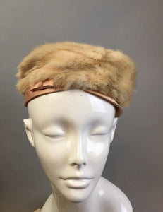 Blonde Mink Pillbox Hat// Vintage 60s Mink and Satin Hat// Vintage Church Hat (F1)