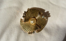 Signed Mazer Bros Pin Rhinestone and Gold Tone// Vintage Art Deco Pin (F1)