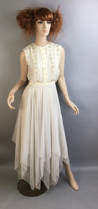 Vintage 60s White Dress// Maxi White Beaded Dress// Sequin and Chiffon Long White Wedding Dress (F1)