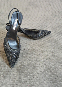 Vintage Oscar De La Renta Shoes// Pointy Toe Designer Shoe// Vintage Goth 90s Shoes (F1)