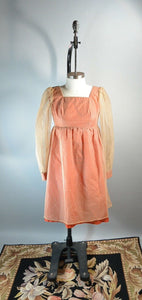 70s Empire Waist Dress// XS Orange Dress// Puff Sleeve Dress (F1)