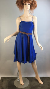 Vintage 80s Blue Polka Dot Dress// Valley Girl 80s Dress and Belt// Vintage 80s Ruffle Dress (F1)