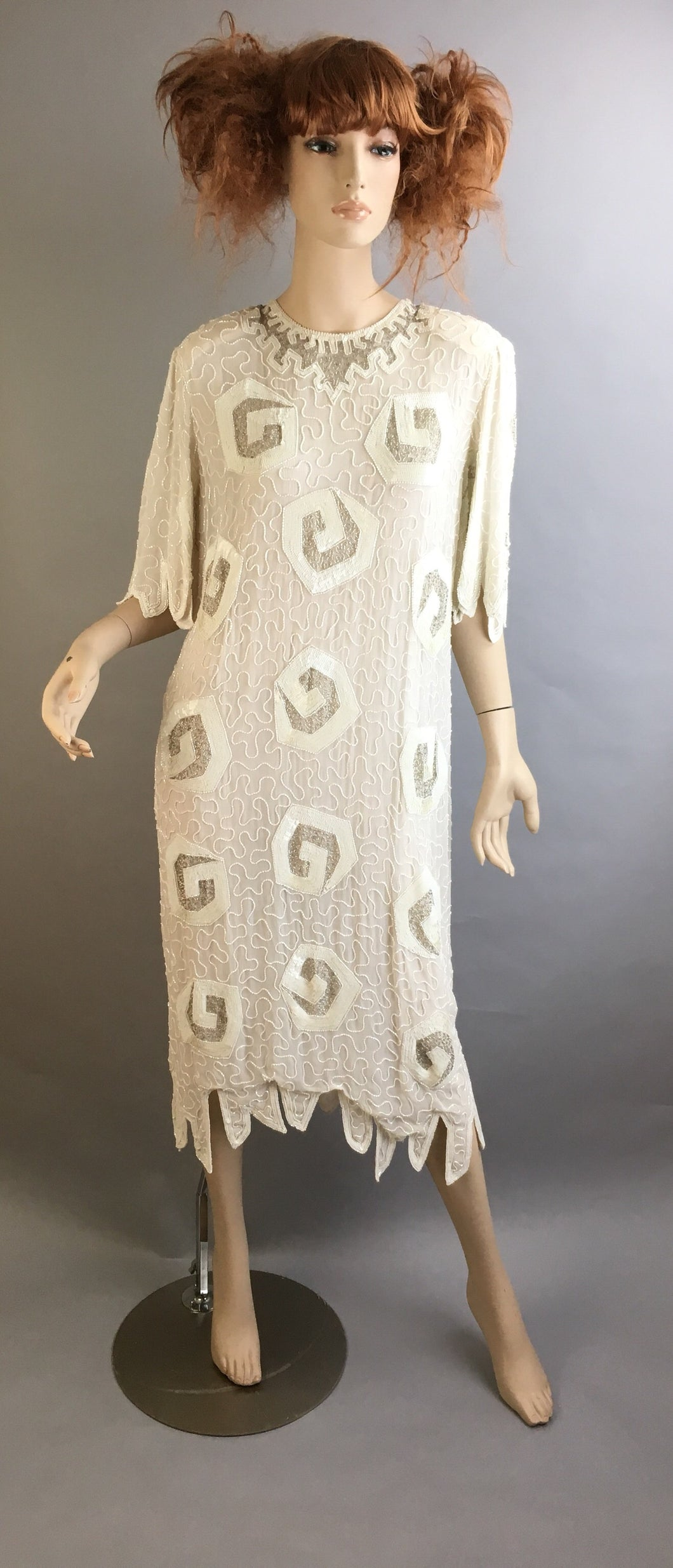 Judith Ann Creations White Dress// Vintage Beaded Dynasty Dress// Designer 80s Vintage Beaded Dress (F1)