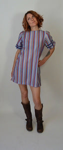 Purple Stripe Tunic/Dress// 70s Shift Dress// Babydoll Dress (F1)