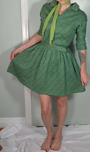 R & K Originals 50s Swing Dress// Vintage Rockabilly Dress// 50s Cotton Bouffant Dress (F1)