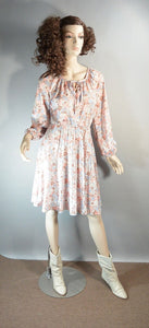 Peasant Girl Dress// 70s Peach Dress// Festival Dress (F1)