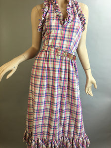 Vintage 70s Dress// Pastel Gingham Summer Dress// Vintage Sleeveless Preppy Summer Dress Size Small (F1)