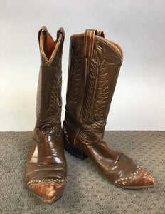 Vintage Tony Lama Boots//Brown Leather and Snakeskin Cowboy Boots// Vintage Womens Cowboy Boot 6.5 (F1)