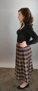 Wool Plaid Skirt// 80s Tea Length Red and Green Plaid Skirt// Pleated 80s Skirt (F1)