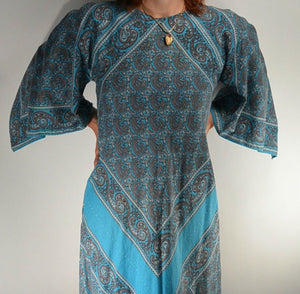 Long Hippy Caftan Dress// Maxi Paisley Dress// Long Blue Dress// 60s Maxi Dress// Handkerchief Dress (F1)