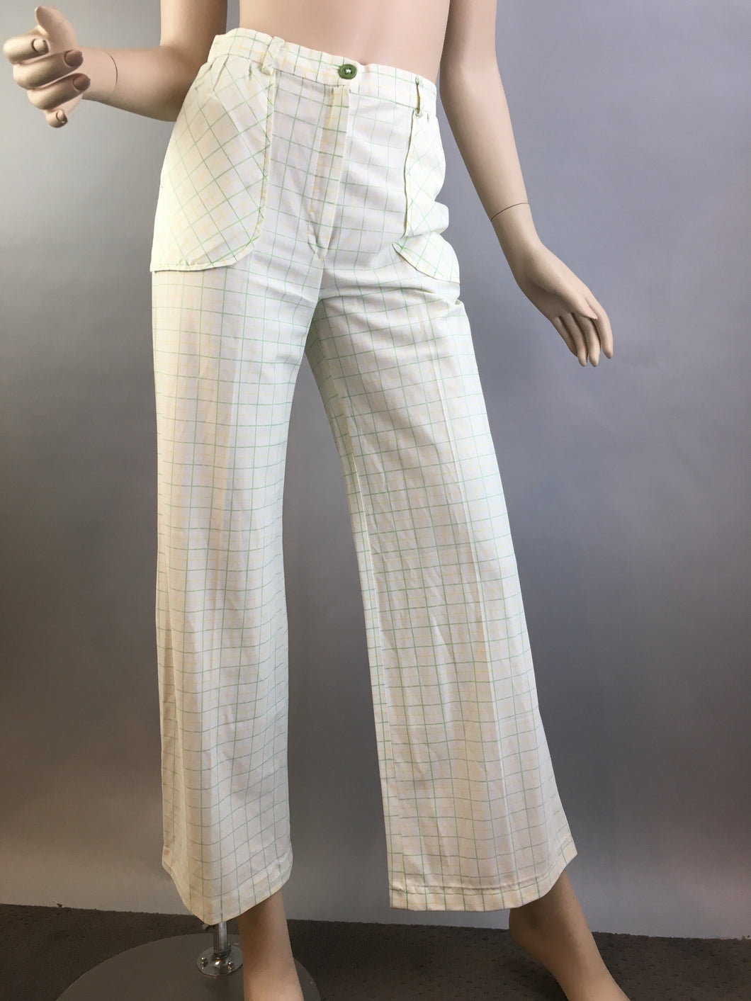 Vintage Wide Leg Pants// 60s High Waist Polyester Pants// Vintage Womens Pants Size Small (F1)