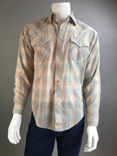 Vintage 70s Western Shirt// Cowboy Button Down with Pearl Snap Buttons// 70s Western Brown Shirt (F1)