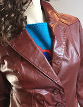Vintage Leather Blazer// Burgundy Leather Jacket // 70s Ox Blood Blazer (F1)