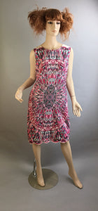 Psychedelic 60s Dress// Pucciesque Vintage Dress// Medium-large Psychedelic Dress (F1)