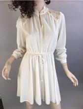 Totally 80s Valley Girl Dress// 80s Secretary Dress// Vintage Cream Color Dress (F1)