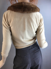 Vintage 50s Fur Collar Sweater// Cashmere and Mink 50s Cardigan// Size Small (F1)
