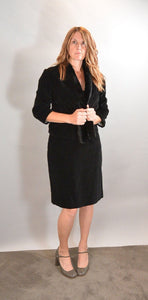 50s Velvet Skirt Suit// 50s Fur Collar Womens Suit// Mad Men Skirt Suit (F1)