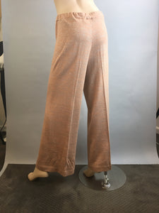 60s Wide Leg Pant// Vintage Pink Sparkly Knit Pants// Silver and pink wide palazzo pants M/L (F1)