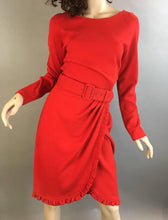 Adrienne Vittadini 80sDress// Vintage Red Dress// Sexy Red Knit Dress (F1)