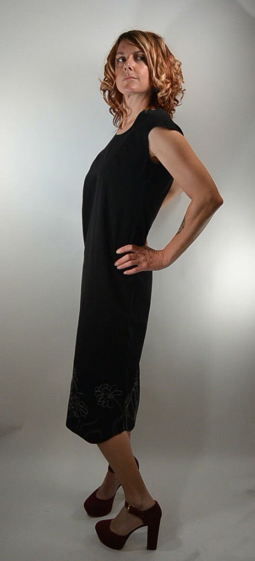 Vintage DKNY Dress// 90s Black Maxi Dress// Donna Karan Black clubbing Dress (F1)