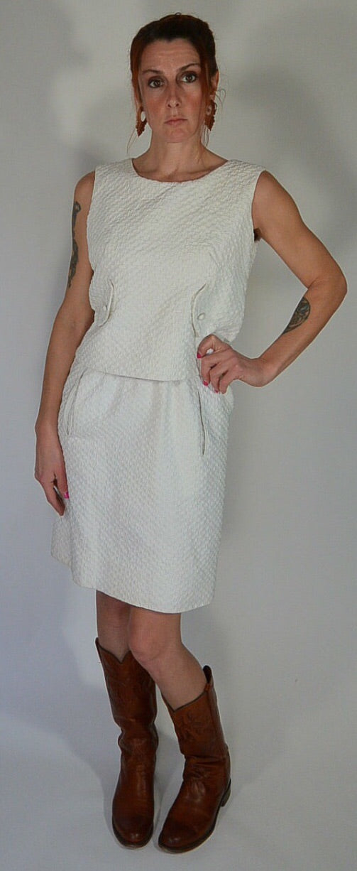 Mod Dress 60s// Vintage Sheath Dress// White 60s Twiggy Dress (F1)