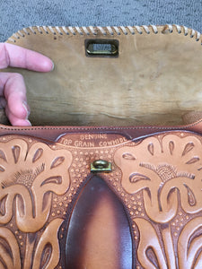 60s Tooled Leather Purse// Vintage Hand Tolled Leather Handbag// 60s Purse matching change purse (F1)