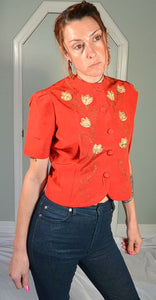 Red Taffeta Jacket//40s Jacket//Crop Jacket//Taffeta Jacket//Red Jacket (F1)