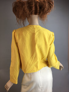 Vintage 80s Crop Jacket// Lemon Yellow Short Jacket// 80s Spring Crop Jacket (F1)