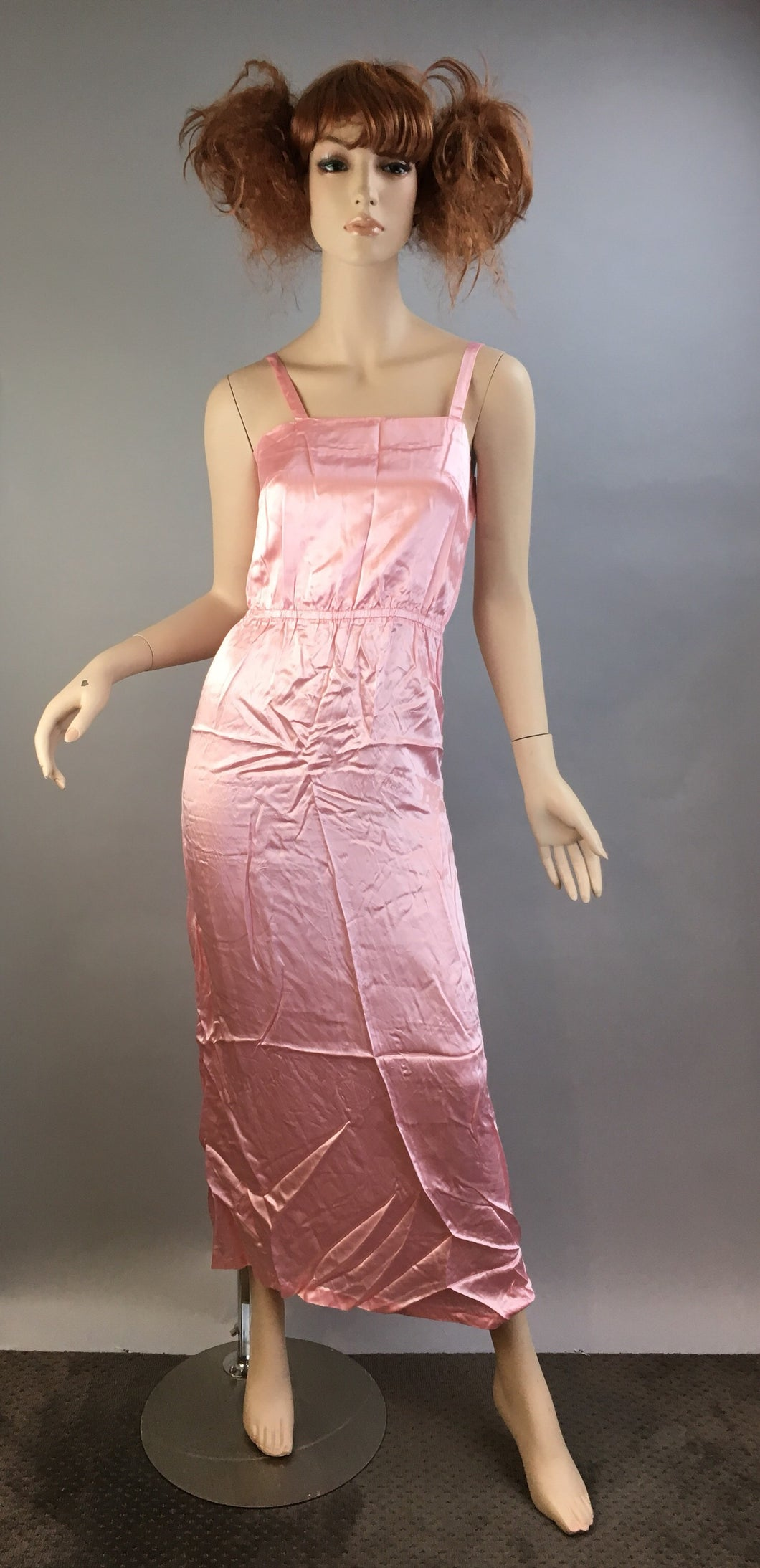 Vintage Pink Satin Nightgown// Maxi Long Pajama Gown// 60s Pink Nightgown (F1)