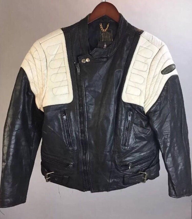 Vintage Leather Motorcycle Jacket// 80s Cafe Racer Jacket// Etches Leder Leather Jacket 42 (F1)