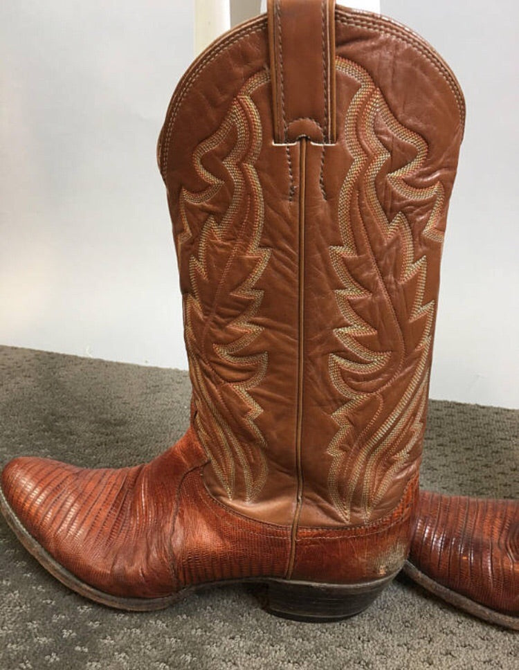 065f5a0c216 Vintage Justin Cowboy Boots// 80s Urban Cowboy Lizard Skin and Leather  Boots// Western Boot Mens 10.5 R (F1)