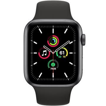 Apple watch - Series SE 44mm Space Grey Aluminum Case Black Sport Band - Azzam Watches