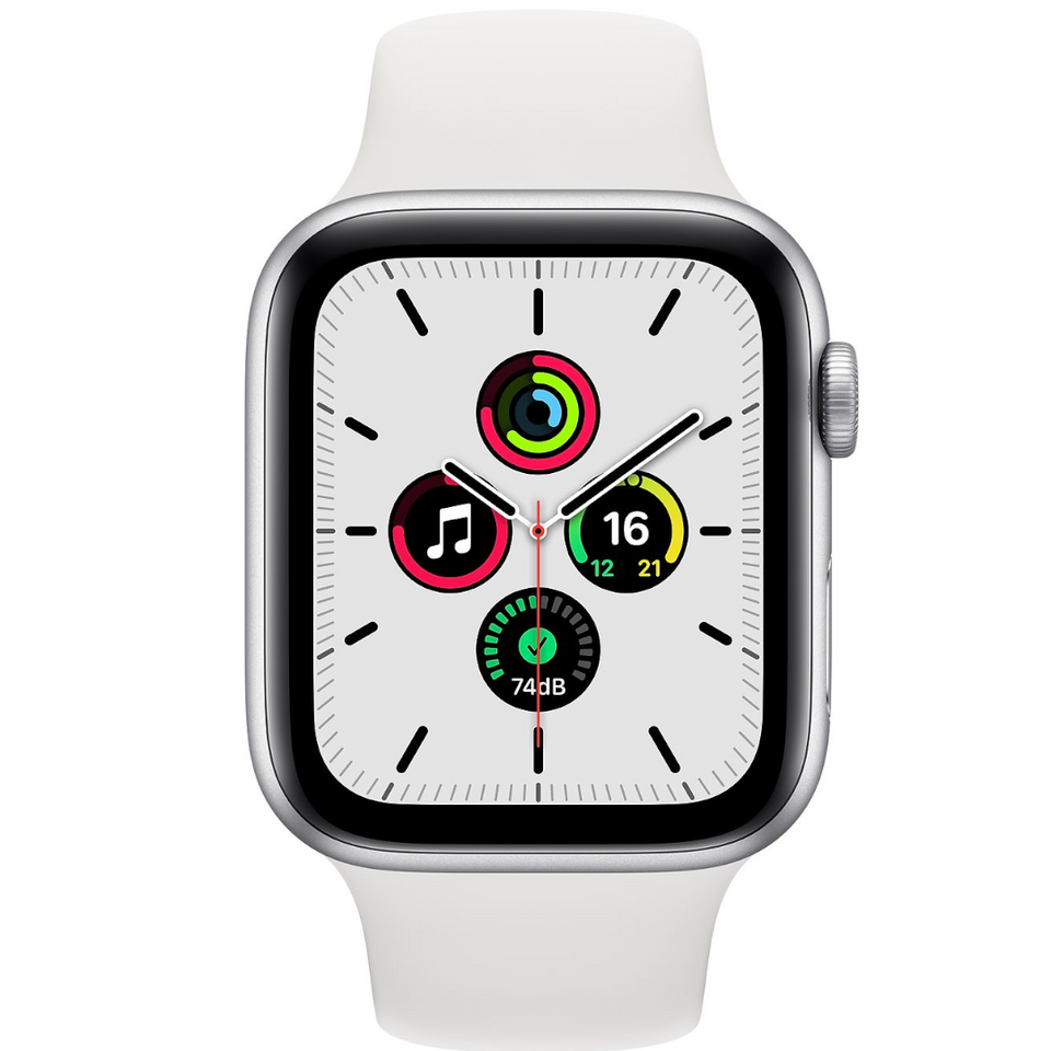 Apple watch - Series SE 44mm Silver Aluminum Case White Sport Band