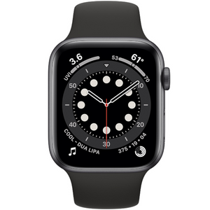 Apple watch - Series 6 44mm Space Grey Aluminum Case Black Sport Band - Azzam Watches
