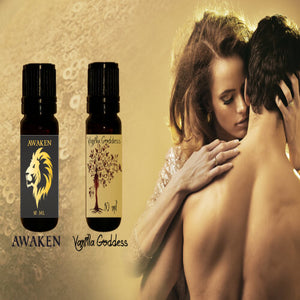 Luxury Aphrodisiac Essential Oils Perfumes Bundle: Awaken (Men) & Vanilla Goddess (Women)