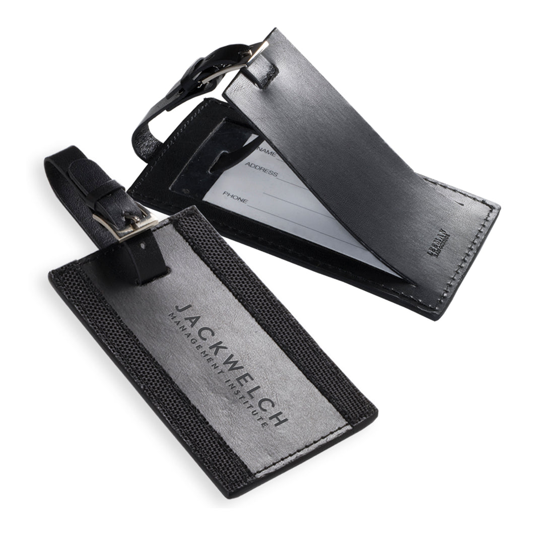 JWMI Black Leather Luggage Tag