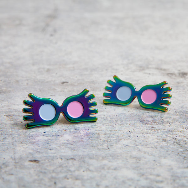 SECONDS SALE -- RAINBOW LUNA GLASSES lapel pin -- Slightly Imperfect