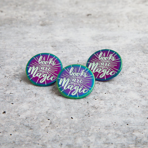BOOKS ARE MAGIC lapel pin