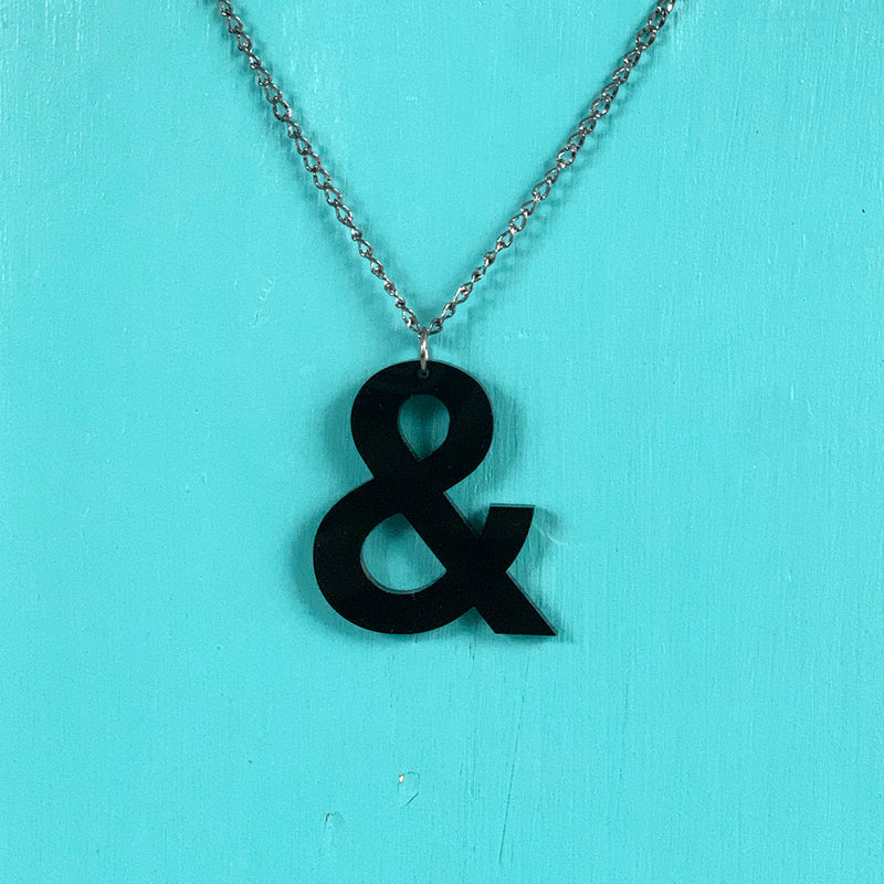 SECONDS NECKLACE SALE -- AMPERSAND Black Acrylic Necklace