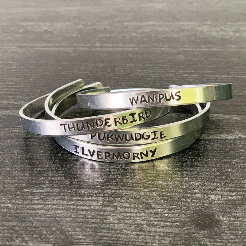 SECONDS SALE -- AMERICAN WIZARDS SCHOOL Stamped Bracelets